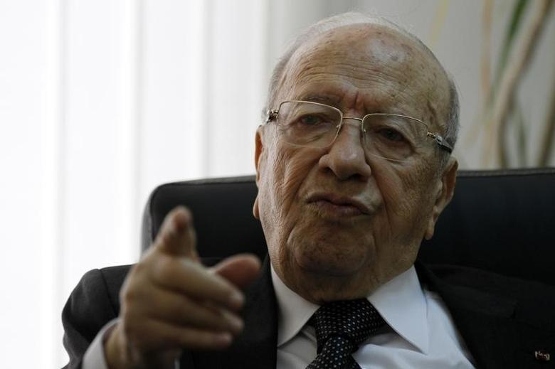 Beji Caid Essebsi, leader of the Nida Touns (Call of Tunisia) secular party, speaks during an interview in Tunis March 7, 2014.   REUTERS/Anis Mili