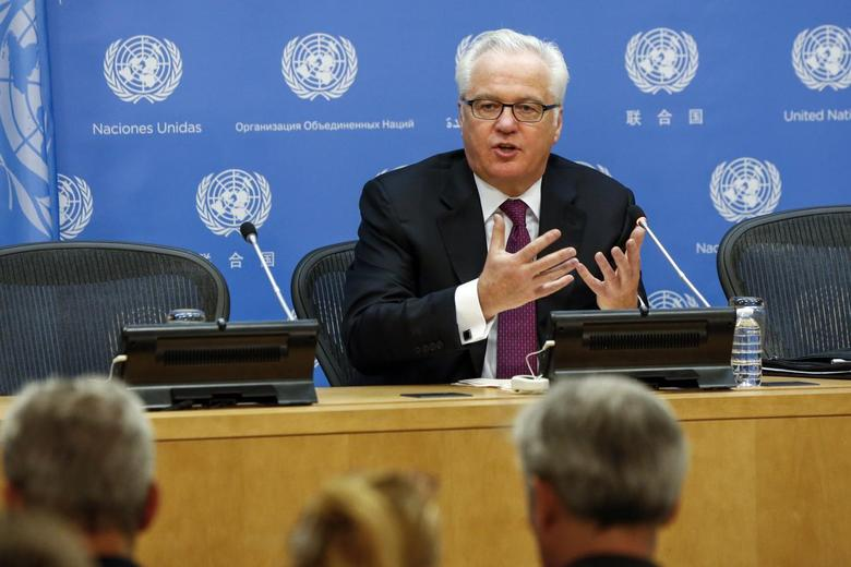 Russia's United Nations Ambassador Vitaly Churkin speaks during a news conference marking the start of his month-long term as president of the U.N. Security Council at the U.N. headquarters in New York June 3, 2014. REUTERS/Lucas Jackson
