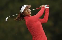 Michelle Wie of the U.S. tees off on the third tee during the final round of the Manulife Financial LPGA Classic women's golf tournament at the Grey Silo course in Waterloo, June 8, 2014.    REUTERS/Mark Blinch