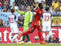 Divock Origi comemora gol da Bélgica contra a Rússia.  Tony Gentile