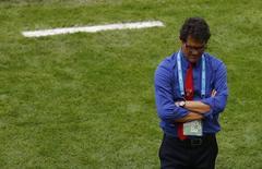 Técnico Capello em jogo da Rússia com a Bélgica.    REUTERS/Ricardo Moraes