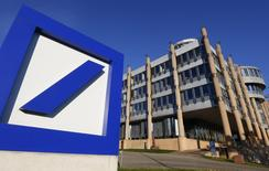 The Deutsche Bank logo is seen outside a building in Luxembourg, in this September 10, 2013 file picture.  REUTERS/Yves Herman/Files