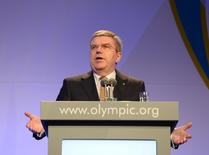 International Olympic Committee (IOC) President Thomas Bach delivers his speech at the Gala Dinner at the 2014 Sochi Winter Olympics, February 6, 2014. REUTERS/Andrej Isakovic/Pool