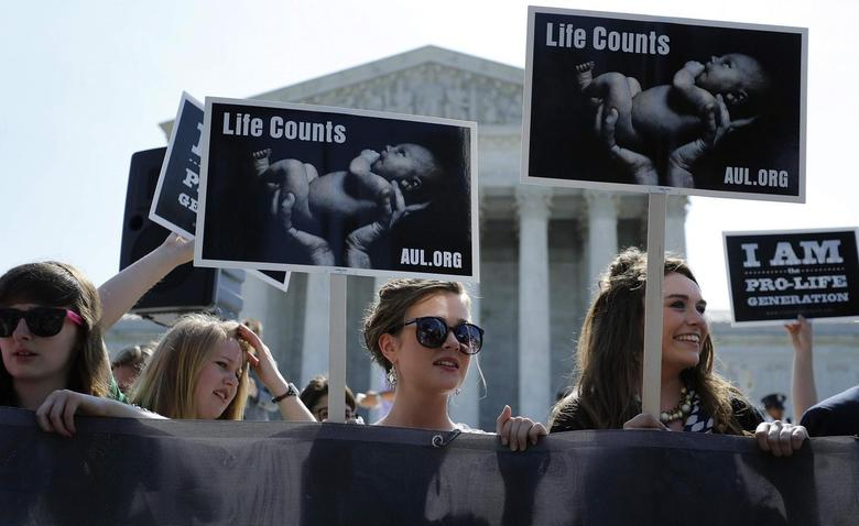 Anti-abortion demonstrators wait for the U.S. Supreme Court ruling in the Hobby Lobby case to be announced in Washington June 30, 2014. REUTERS/Jonathan Ernst