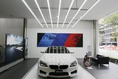 A BMW car is seen inside a BMW car dealership in Mexico City July 3, 2014. REUTERS/Carlos Jasso