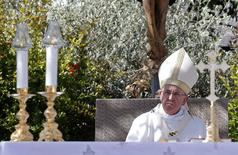 Pope Francis looks on as he leads a mass in Campobasso, south of Italy, July 5, 2014.  REUTERS/Giampiero Sposito
