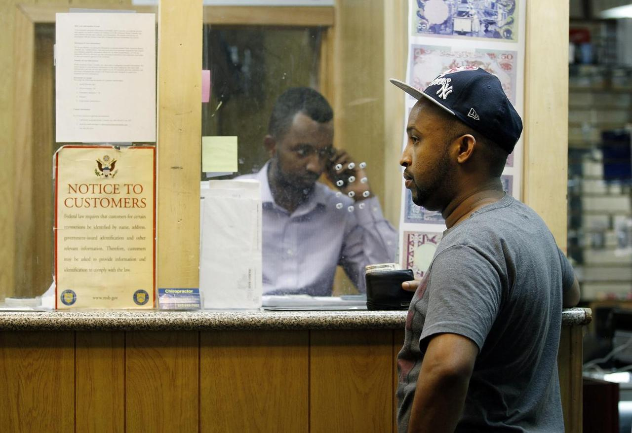 Somali Expats Fear Bank Curbs On Sending Money Home Wiring Account Mohammed Ahamed R Waits As Shakir Hussein Owner Of Transfer Business Mustaqbal Express In Minneapolis Wires To His Ex Wife Somalia