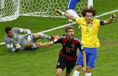 Mueller comemora gol da Alemanha contra o Brasil. 08/07/2014      REUTERS/Leonhard Foeger