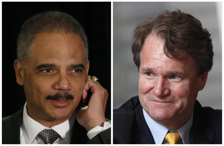 A combination of file photos shows U.S. Attorney General Eric Holder (L) in Washington on May 5, 2014 and Bank of America Chief Executive Brian Moynihan in Hong Kong on March 8, 2013 respectively.   REUTERS/Gary Cameron/Files (L) and REUTERS/Bobby Yip/Files