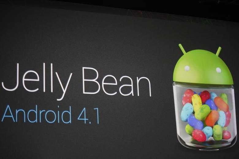 An Android 4.1 ''Jelly Bean'' mobile operating system logo is seen during Google I/O 2012 Conference at Moscone Center in San Francisco, California June 27, 2012. REUTERS/Stephen Lam/Files