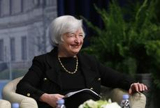 U.S. Federal Reserve Chair Janet Yellen smiles at the inaugural Michel Camdessus Central Banking Lecture at the International Monetary Fund in Washington July 2, 2014. REUTERS/Gary Cameron