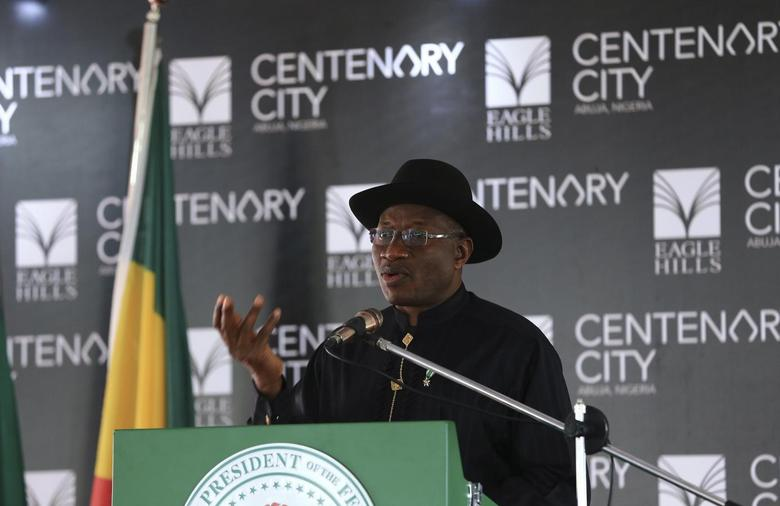 Nigeria's President Goodluck Jonathan speaks during the groundbreaking ceremony of the Centenary City project in Abuja June 24, 2014.   REUTERS/Afolabi Sotunde