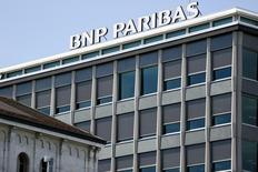 A BNP Paribas sign is pictured on a building of the bank in Geneva July 1, 2014.  REUTERS/Pierre Albouy