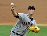 San Francisco Giants starting pitcher Matt Cain (18) pitches against the Chicago White Sox at U.S Cellular Field on June 17, 2014. Mandatory Credit: Matt Marton-USA TODAY Sports