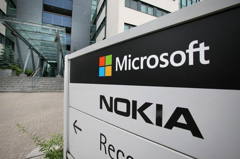 A view of Microsoft and Nokia signs in Peltola, Oulu July 16, 2014. REUTERS/Markku Ruottinen/Lehtikuva