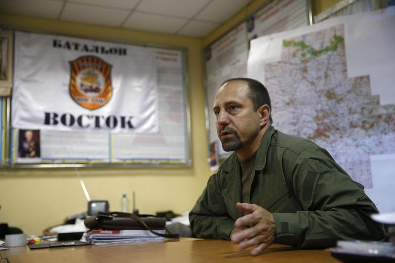 Rebel commander Alexander Khodakovsky of the so-called Vostok battalion - or eastern battalion - speaks during an interview in Donetsk, July 8, 2014. REUTERS/Maxim Zmeyev