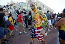 A costumed man who gave his name as Nomad walks outside of the San Diego Convention Center during the 2014 Comic-Con International Convention in San Diego, California July 23, 2014.  REUTERS/Sandy Huffaker