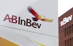Logo da AV InBev fotografado na sede da cervejaria em Leuven, na Bélgica. 26/02/2014. REUTERS/Francois Lenoir