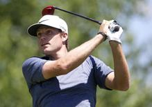 Jun 21, 2014; Cromwell, CT, USA; Nick Watney tees off on the second hole during the third round of the Travelers Championship at TPC River Highlands. Mandatory Credit: David Butler II-USA TODAY Sports - RTR3V1HU