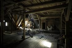 A worker climbs a ladder in an attic that is being turned into a luxury loft in Berlin June 26, 2014.   REUTERS/Thomas Peter