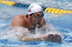Phelps treina para competição em 23 de abril. /Rob Schumacher-USA TODAY Sports