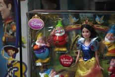 Disney toys are displayed inside a showroom in Hong Kong June 23, 2011. REUTERS/Tyrone Siu