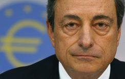 Presidente do Banco Central Europeu, Mario Draghi, durante coletiva de imprensa em Frankfurt.  7/08/2014.  REUTERS/Ralph Orlowski