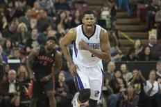 Feb 5, 2014; Sacramento, CA, USA; Sacramento Kings small forward Rudy Gay (8) reacts after scoring against the Toronto Raptors during the second quarter at Sleep Train Arena.  Ed Szczepanski-USA TODAY Sports