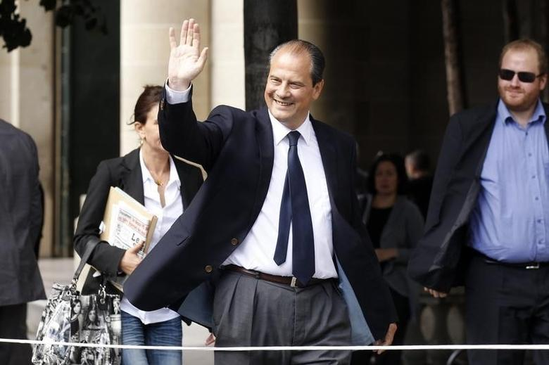 France's Socialist party member Jean-Christophe Cambadelis waves as he arrives to attend the national council of French Socialist party in Paris September 12, 2012.   REUTERS/Benoit Tessier