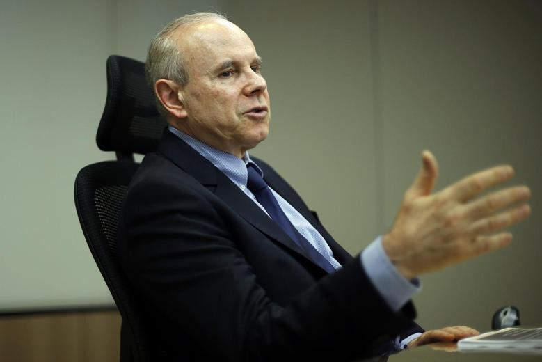 Brazil's Finance Minister Guido Mantega speaks during an interview with Reuters in Brasilia August 5, 2014. REUTERS/Ueslei Marcelino