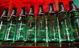 Bottles of Carlsberg beer are seen in a bar in St. Petersburg June 17, 2014. REUTERS/Alexander Demianchuk