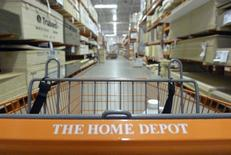 A shopping cart is seen in a Home Depot location in Niles, Illinois, May 19, 2014. REUTERS/Jim Young