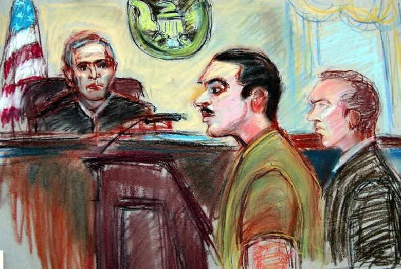 A sketch of Jose Padilla (C) appearing at a courthouse in Miami, January 6, 2006.  REUTERS/Jeanne Boggs