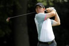 Sep 12, 2014; Atlanta, GA, USA; Rory McIlroy hits a drive from the third tee box during the second round of the Tour Championship at East Lake Golf Club. Mandatory Credit: Brett Davis-USA TODAY Sports