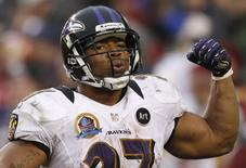 Baltimore Ravens running back Ray Rice celebrates his touchdown against the Washington Redskins in the second half of their NFL football game in Landover, Maryland in this December 9, 2012 file photo. REUTERS/Gary Cameron/Files