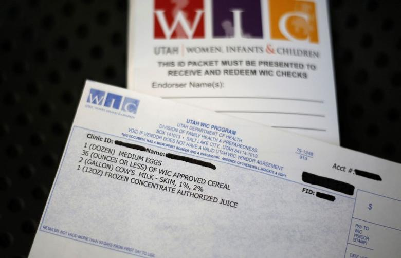 A WIC voucher for food at the Women, Infants and Children (WIC) offices is seen at a Salt Lake County health clinic in South Salt Lake City, Utah in this file photo taken October 2, 2013.  REUTERS/Jim Urquhart/Files