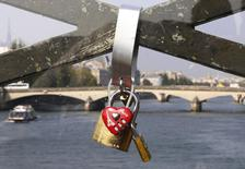 Padlocks are seen through a plastic panel which protects the fence of the Pont des Arts over the River Seine in Paris September 23, 2014.  REUTERS/Jacky Naegelen