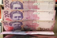 Купюры валюты гривна в магазине в Киеве 21 февраля 2010 года. Президент Украины Петр Порошенко пообещал остановить атаки на гривну и обеспечить стабильность на валютном рынке, а также сказал о необходимости пересмотра программы кредитования страны Международным валютным фондом и привлечения дополнительных средств от Евросоюза и США. REUTERS/Konstantin Chernichkin