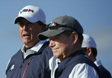 U.S. Ryder Cup player Phil Mickelson (L) stands with captain Tom Watson on the sixth tee during his fourballs 40th Ryder Cup match at Gleneagles in Scotland September 26, 2014. REUTERS/Phil Noble