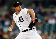 Sep 25, 2014; Detroit, MI, USA; Detroit Tigers starting pitcher Max Scherzer (37) pitches in the first inning against the Minnesota Twins at Comerica Park. Mandatory Credit: Rick Osentoski-USA TODAY Sports