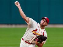 Sep 20, 2014; St. Louis, MO, USA; St. Louis Cardinals starting pitcher Michael Wacha (52) throws to a Cincinnati Reds batter during the first inning at Busch Stadium. Mandatory Credit: Jeff Curry-USA TODAY Sports