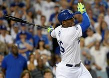 Oct 3, 2014; Los Angeles, CA, USA; Los Angeles Dodgers right fielder Yasiel Puig (66) reacts after striking out in the ninth inning against the St. Louis Cardinals in game one of the 2014 NLDS playoff baseball game at Dodger Stadium. Mandatory Credit: Richard Mackson-USA TODAY Sports