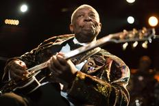 Legendary blues guitarist B.B. King performs onstage during the 45th Montreux Jazz Festival in Montreux  in this July 2, 2011 file photo. REUTERS/Valentin Flauraud/Files