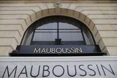 A view shows the logo of French watch and jewellery brand Mauboussin at their store on  the Place Vendome in Paris, October 8, 2014. REUTERS/Christian Hartmann