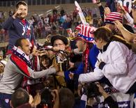 Oct 10, 2014; Hartford, CT, USA; USA forward Landon Donovan celebrates with fans after the game against Ecuador at Rentschler Field. David Butler II-USA TODAY Sports