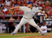 Oct 2, 2014; Anaheim, CA, USA; Kansas City Royals starting pitcher Jason Vargas (51) pitches during the second inning in game one of the 2014 American League divisional series against the Los Angeles Angels at Angel Stadium of Anaheim. Mandatory Credit: Robert Hanashiro