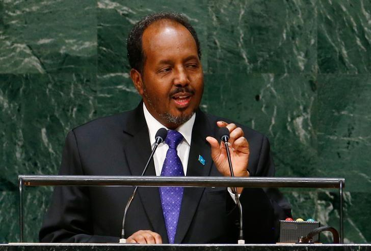 Hassan Sheikh Mohamud, President of Somalia, addresses the 69th United Nations General Assembly at the U.N. headquarters in New York September 26, 2014.                            REUTERS/Lucas Jackson