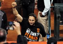 Oct 16, 2014; San Francisco, CA, USA; San Francisco Giants left fielder Michael Morse (38) celebrates after defeating the St. Louis Cardinals in game five of the 2014 NLCS playoff at AT&T Park. Giants won 6-3. Mandatory Credit: Ed Szczepanski