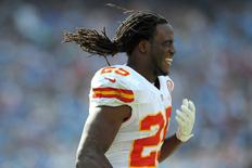 Oct 19, 2014; San Diego, CA, USA; Kansas City Chiefs running back Jamaal Charles (25) reacts after a hard collision on a touchdown during the first quarter against the San Diego Chargers at Qualcomm Stadium. Mandatory Credit: Jake Roth-USA TODAY Sports