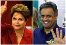 Montagem de fotos dos candidatos à Presidência Dilma Rousseff e Aécio Neves acenando após votarem em Porto Alegre e Belo Horizonte, respectivamente. REUTERS/Paulo Whitaker e Sergio Moraes